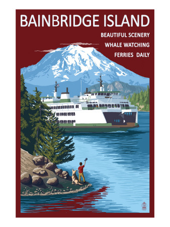 Bainbridge Island, WA - Ferry and Island Art Print