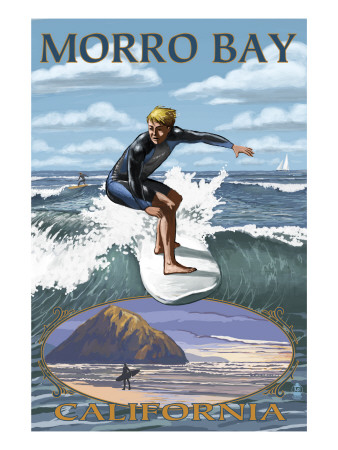 Morro Bay, California - Surfing Scene Art Print