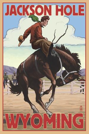 Jackson Hole, Wyoming Bucking Bronco Prints by  Lantern Press