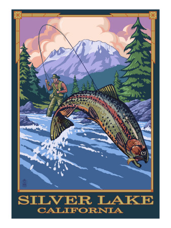 Silver Lake, California - Fisherman Prints by  Lantern Press