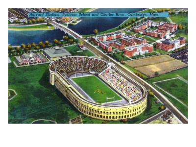 Cambridge, Massachusetts - Harvard University; Aerial of Stadium Posters by  Lantern Press