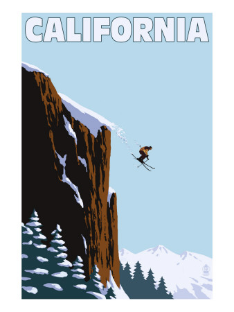 California - Skier Jumping Art Print