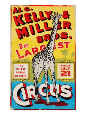 """""""Al G. Kelly & Miller Bros. 2nd Largest Circus: the Tallest Animal on Earth"""", Circa 1941 Premium Giclee Print"""