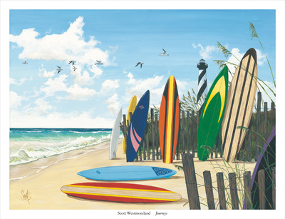 Journey beach surfboards summer scenes fine art print by Scott Westmoreland