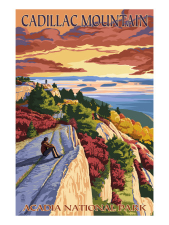 Colorful trees and pink granite sunset sunrise sky vintage acadia national park poster