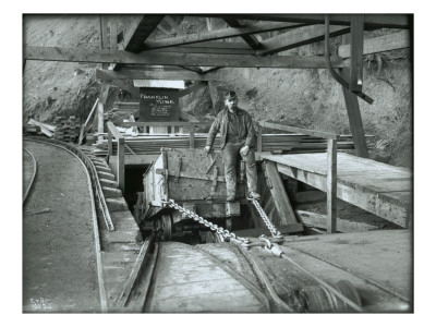 Coal Car with Operator, Franklin Mine Premium Giclee Print by Asahel Curtis