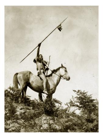The Challenge (Yakama Warrior on Horseback, 1911) Lámina giclée por Eugene Everett Lavalleur and L.V. McWhorter