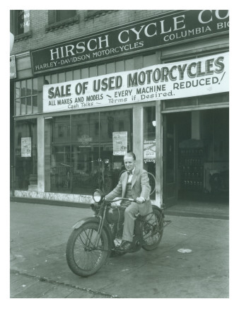 Man on Harley Davidson Motocycle at Hirsch Cycle Co., 1927 Giclee Print