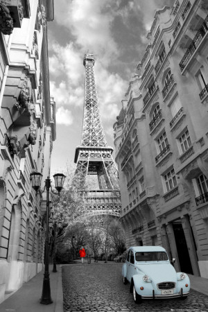 Paris - Red Girl, Blue Car Affiche