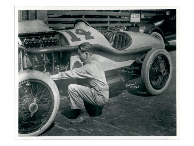 Harry Hartz and No.14 Racecar, 1919 Premium Giclee Print by Marvin Boland