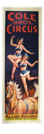 """Allen Sisters, America's Greatest Equestriennes"", Circa 1940 Giclee Print"