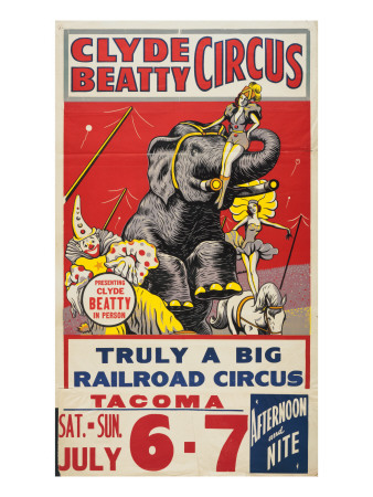 """Clyde Beatty Circus; Truly Big Railroad Circus"", 1935 Giclee Print"