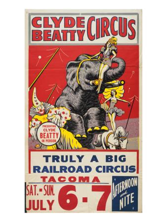 """Clyde Beatty Circus; Truly Big Railroad Circus"", 1935 Premium Giclee Print"