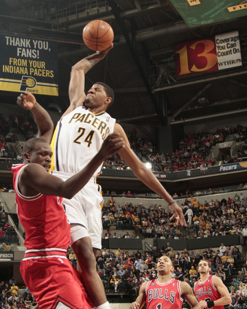 Chicago Bulls v Indiana Pacers - Game Three, Indianapolis, IN - APRIL 21: Paul George and Luol Deng Photo by Ron Hoskins