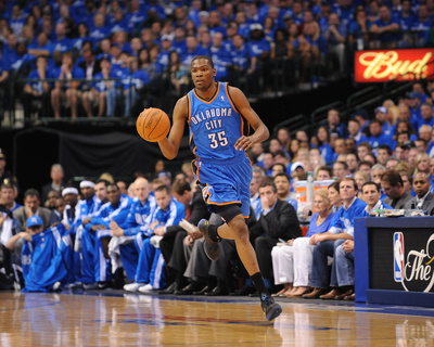 Oklahoma City Thunder v Dallas Mavericks - Game One, Dallas, TX - MAY 17: Kevin Durant Photo by Noah Graham