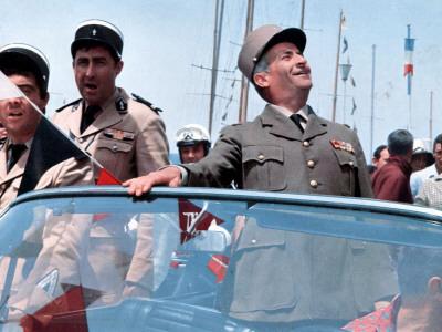 Louis de Funès, Guy Grosso and Michel Modo: Le Gendarme de Saint-Tropez, 1964 Photographic Print by Marcel Dole