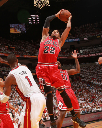 Chicago Bulls v Miami Heat - Game Three, Miami, FL - MAY 22: Taj Gibson and Chris Bosh Photo by Victor Baldizon