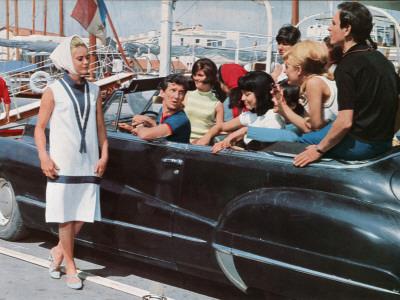 Geneviève Grad, Daniel Cauchy and Patrice Laffont: Le Gendarme de Saint-Tropez, 1964 Photographic Print by Marcel Dole