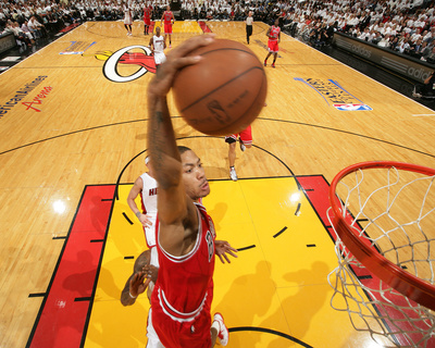 NBA MAY 24th Game: Chicago Bulls versus Miami Heat - Game Four, Miami, FL - Derrick Rose dunk close-up photo