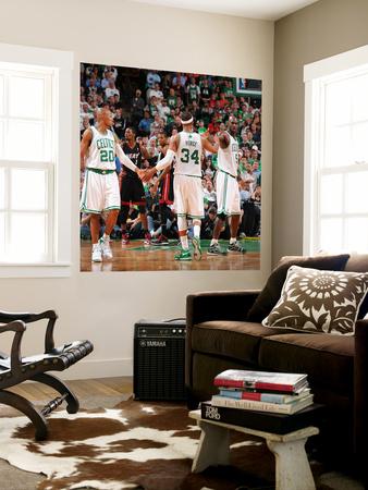 Miami Heat v Boston Celtics - Game Four, Boston, MA - MAY 9: Ray Allen, Paul Pierce and Kevin Garne Wall Mural by Brian Babineau