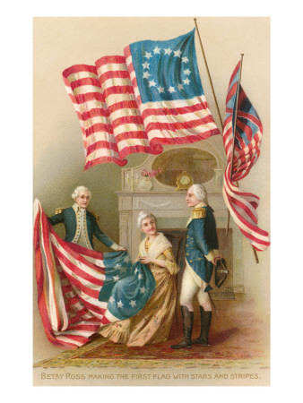 Betsy Ross with First Flag Prints