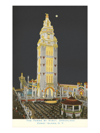 Dreamland Tower at Night, Coney Island,  New York City Premium Poster