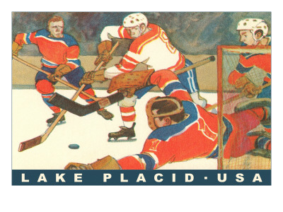 Hockey Game in Lake Placid, New York Prints