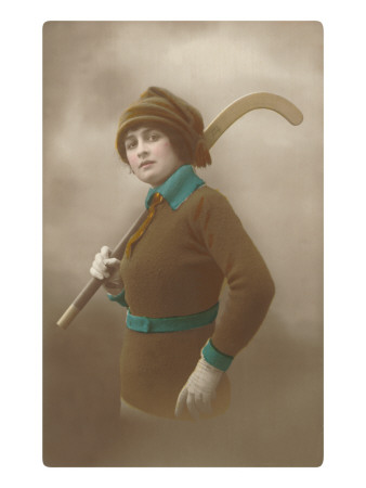 Woman with Field Hockey Stick Premium Poster