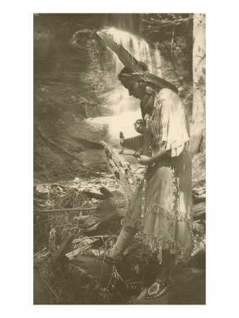 Native American Woman with Camera Art
