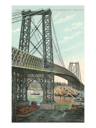 Boat on Fire under Williamsburg Bridge, New York City Art