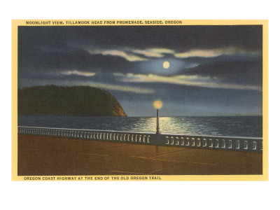 Moon over Tillamook Head, Seaside, Oregon Posters
