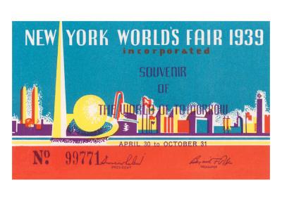 Souvenir Ticket to New York World's Fair, 1939 Láminas
