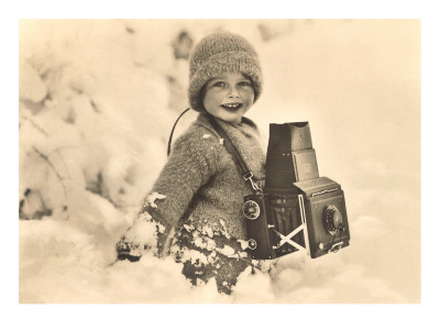 Child in Snow with Old Camera Prints