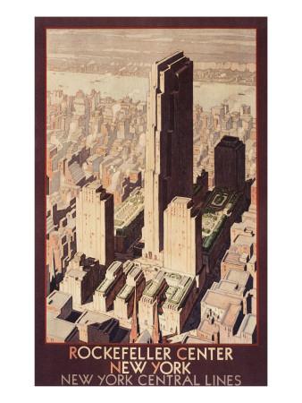 Travel Poster, Rockefeller Center, New York City Prints