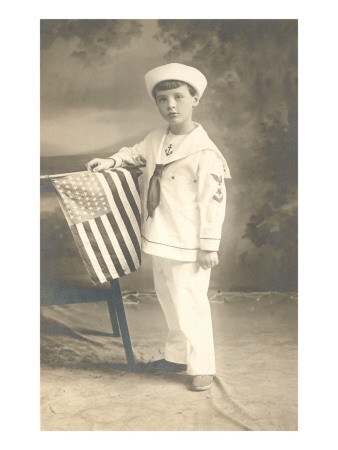 Sailor Boy with Flag Posters