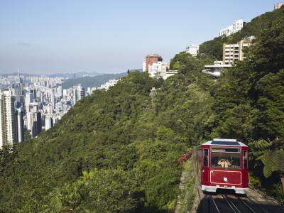 The Peak Tram Ascending Victoria Peak, Hong Kong, China Photographic Print by Ian Trower