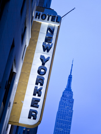 USA, New York City, Manhattan, New Yorker Hotel and Empire State Building Photographic Print by Gavin Hellier