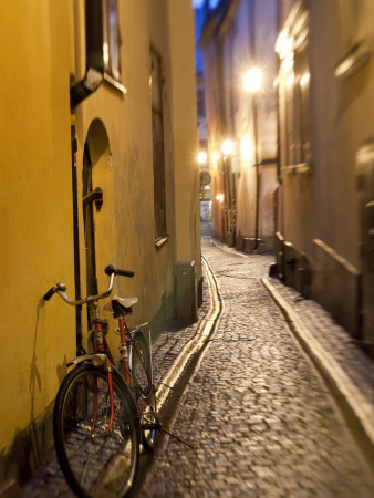 Historic Old Street in Gamla Stan (Old Town) in Stockholm, Sweden Photographic Print by Peter Adams