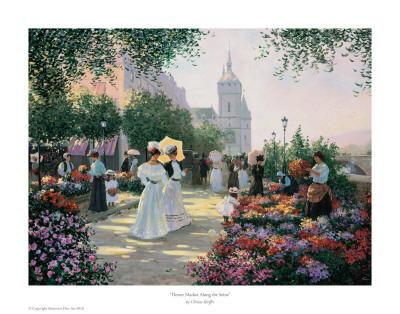 Flower Market Along The Seine Poster by Christa Kieffer