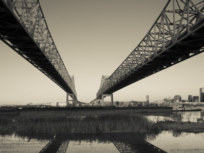 USA, Louisiana, New Orleans, Greater New Orleans Bridge and Mississippi River Photographic Print by Walter Bibikow