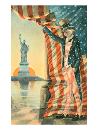 Uncle Sam Viewing Statue of Liberty Premium Poster