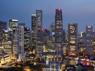 Singapore, City Skyline at Night Photographic Print by Steve Vidler