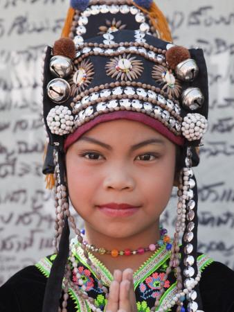 Thailand, Chiang Mai, Chiang Mai Flower Festival, Akha Hilltribe Girl Photographic Print by Steve Vidler