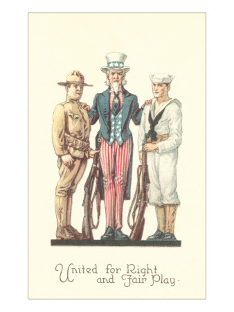 Uncle Sam with Soldier and Sailor Premium Poster