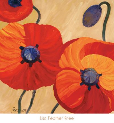 Oriental Poppy Left Art by Lisa Feather Knee