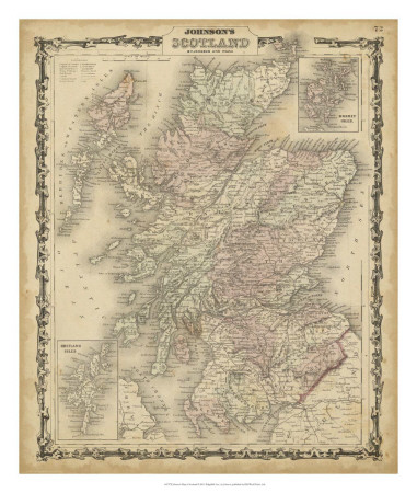 Johnson's Map of Scotland Art Print