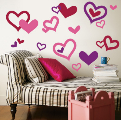 Hearts - Light Pink, Purple, Red Wall Decal