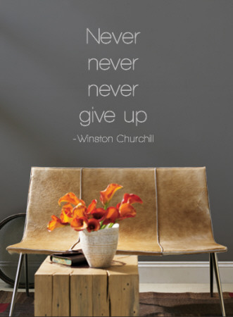 Never Give Up - Winston Churchill - Grey Wall Decal