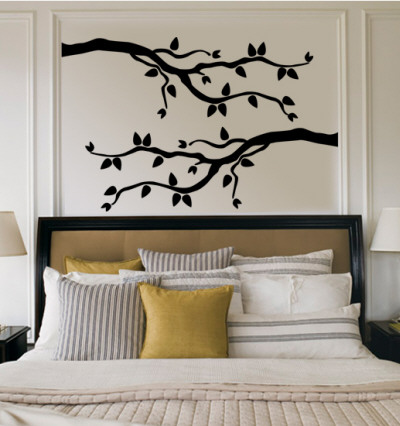 Black Branch With Leaves Wall Decal