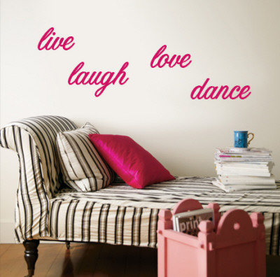 Live, Laugh, Love, Dance - Pink Wall Decal